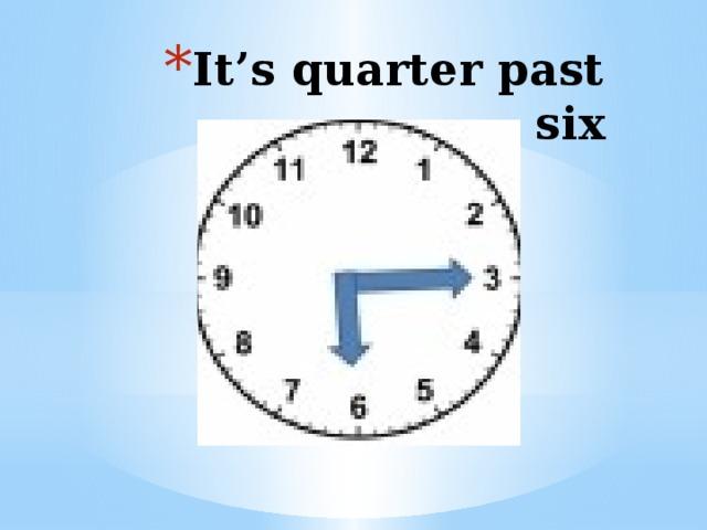 It's quarter past six
