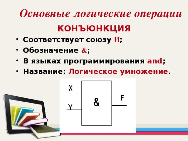 Основные логические операции КОНЪЮНКЦИЯ Соответствует союзу  И ; Обозначение  & ; В языках программирования and ; Название: Логическое умножение .