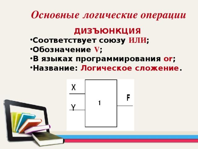 Основные логические операции ДИЗЪЮНКЦИЯ Соответствует союзу  ИЛИ ; Обозначение  V ; В языках программирования or ; Название: Логическое сложение .