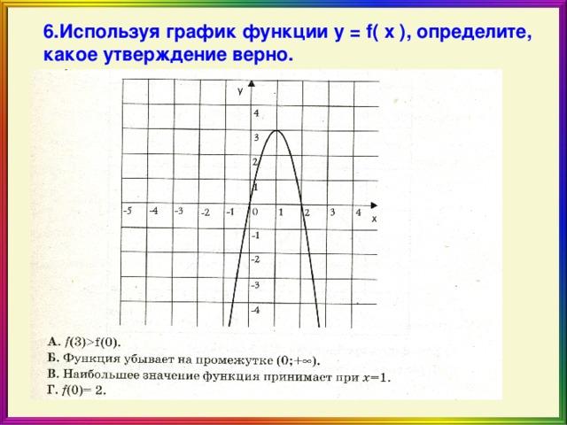 6.Используя график функции у = f( x ) , определите, какое утверждение верно.