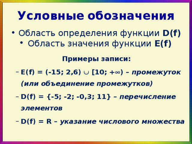 Условные  обозначения Область определения функции D(f) Область значения функции E(f)  Примеры записи: