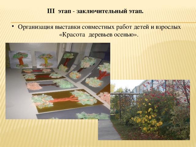 III этап - заключительный этап.    Организация выставки совместных работ детей и взрослых «Красота деревьев осенью».                                   .