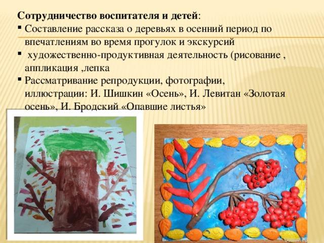 Сотрудничество воспитателя и детей :