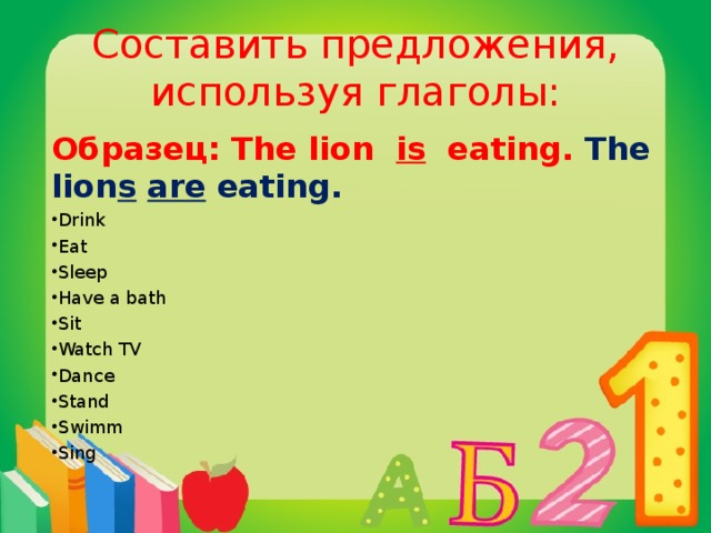 Составить предложения, используя глаголы: Образец: The lion is eating. The lion s  are eating.