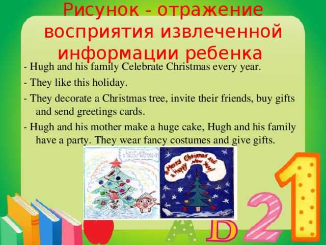 Рисунок - отражение восприятия извлеченной информации ребенка - Hugh and his family Celebrate Christmas every year. - They like this holiday. - They decorate a Christmas tree, invite their friends, buy gifts and send greetings cards. - Hugh and his mother make a huge cake, Hugh and his family have a party. They wear fancy costumes and give gifts.