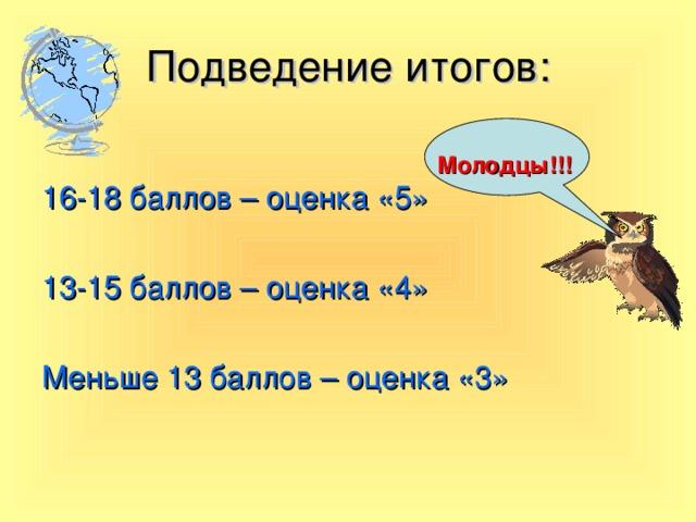 Подведение итогов: Молодцы!!! 16-18 баллов – оценка «5» 13-15 баллов – оценка «4» Меньше 13 баллов – оценка «3»