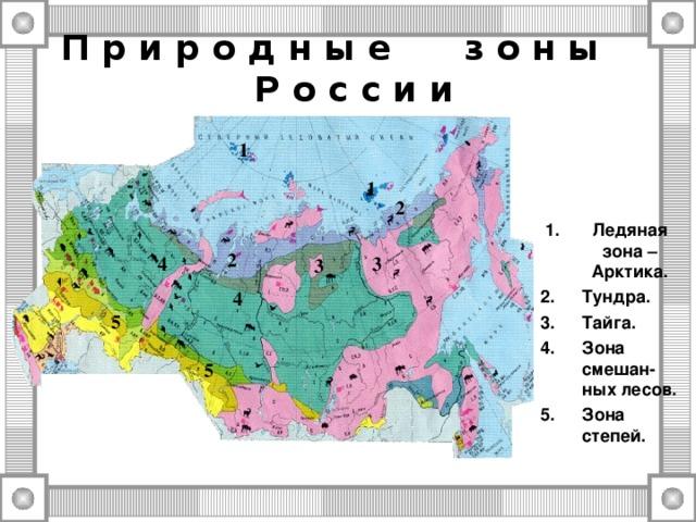 П р и р о д н ы е з о н ы Р о с с и и 1 1 2 Ледяная зона – Арктика. Тундра. Тайга. Зона смешан-ных лесов. Зона степей. 2 3 4 3 4 5 5