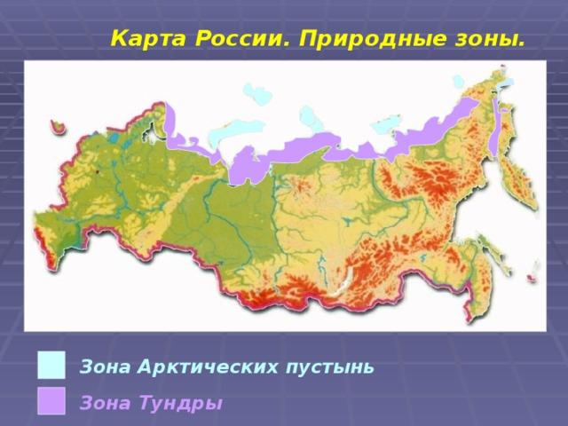 Карта России. Природные зоны. Зона Арктических пустынь Зона Тундры