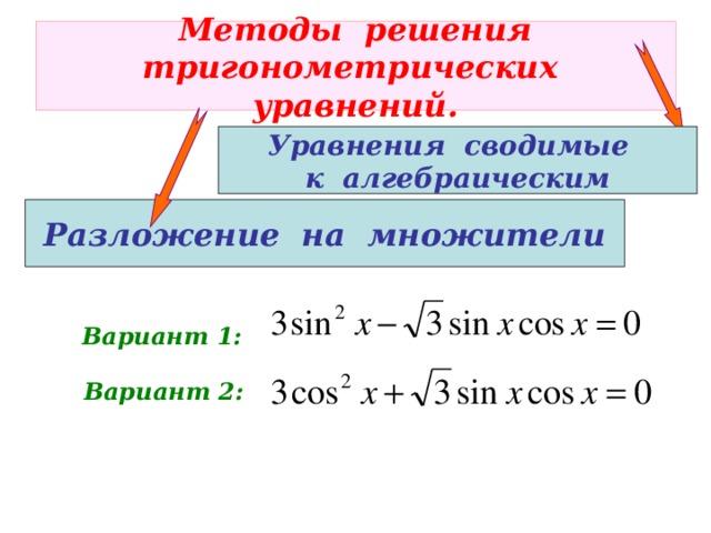 Методы решения  тригонометрических уравнений. Уравнения сводимые к алгебраическим Разложение на множители Вариант 1: Вариант 2: