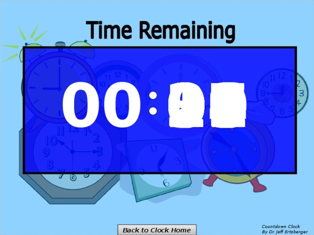 00 14 00 01 02 03 04 05 06 07 08 09 10 11 12 13 15 16 25 30 29 28 27 26 24 23 22 21 20 19 18 17 Countdown Clock  By Dr. Jeff Ertzberger Back to Clock Home