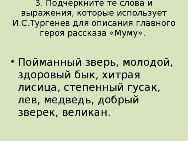 3. Подчеркните те слова и выражения, которые использует И.С.Тургенев для описания главного героя рассказа «Муму».