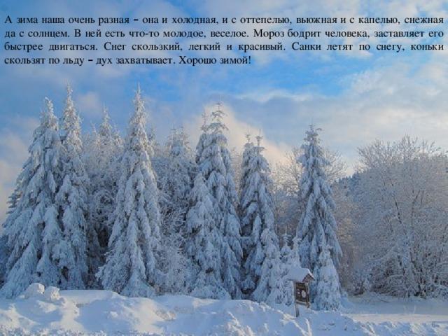 А зима наша очень разная – она и холодная, и с оттепелью, вьюжная и с капелью, снежная да с солнцем. В ней есть что-то молодое, веселое. Мороз бодрит человека, заставляет его быстрее двигаться. Снег скользкий, легкий и красивый. Санки летят по снегу, коньки скользят по льду – дух захватывает. Хорошо зимой!