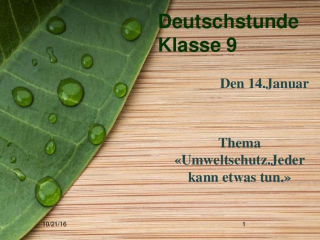 Deutschstunde  Klasse 9  Den 14.Januar   Thema «Umweltschutz.Jeder kann etwas tun.» 10/21/16