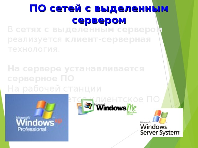 ПО сетей с выделенным сервером В сетях с выделенным сервером реализуется клиент-серверная технология.  На сервере устанавливается серверное ПО На рабочей станции устанавливается клиентское ПО