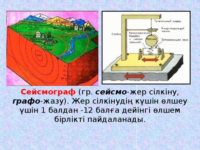 Сейсмограф (гр. сейсмо -жер сілкіну, графо -жазу). Жер сілкінудің күшін өлшеу үшін 1 балдан -12 балға дейінгі өлшем бірлікті пайдаланады.