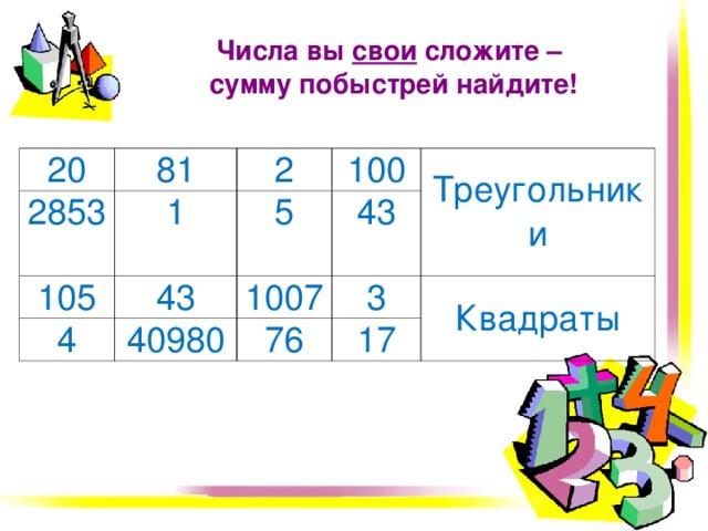 Числа вы свои сложите –  сумму побыстрей найдите! 20 81 2853 1 105 2 100 43 4 5 1007 43 Треугольники 40980 3 76 17 Квадраты