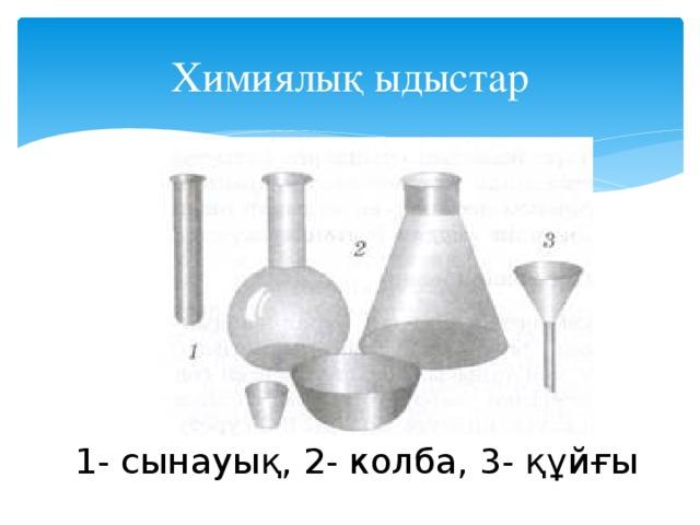 Химиялық ыдыстар 1- сынауық, 2- колба, 3- құйғы