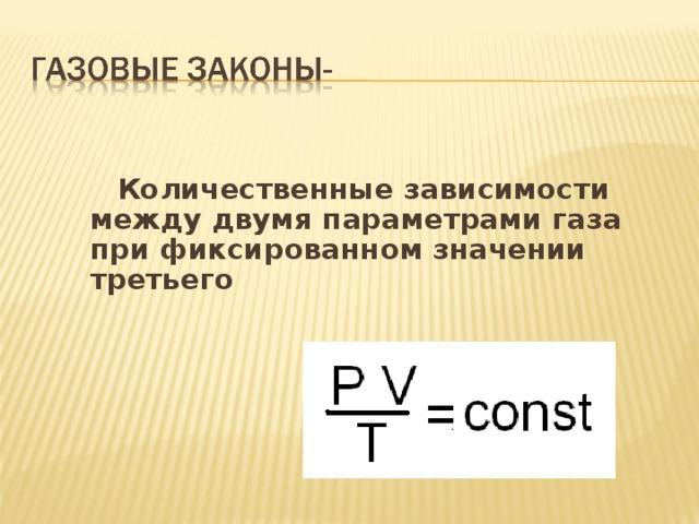 Количественные зависимости между двумя параметрами газа при фиксированном значении третьего
