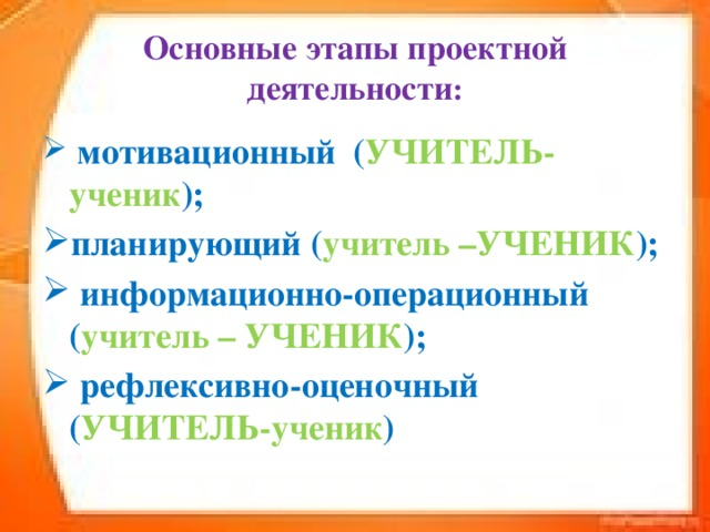Основные этапы проектной деятельности :