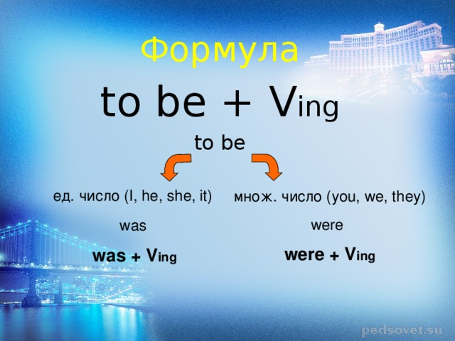 Формула to be + V ing to be ед. число (I, he, she, it) множ. число ( you, we, they ) were was were + V ing was + V ing
