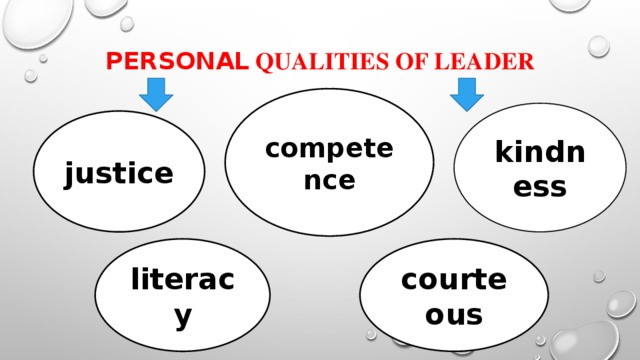 personal qualities of leader   competence kindness justice literacy courteous