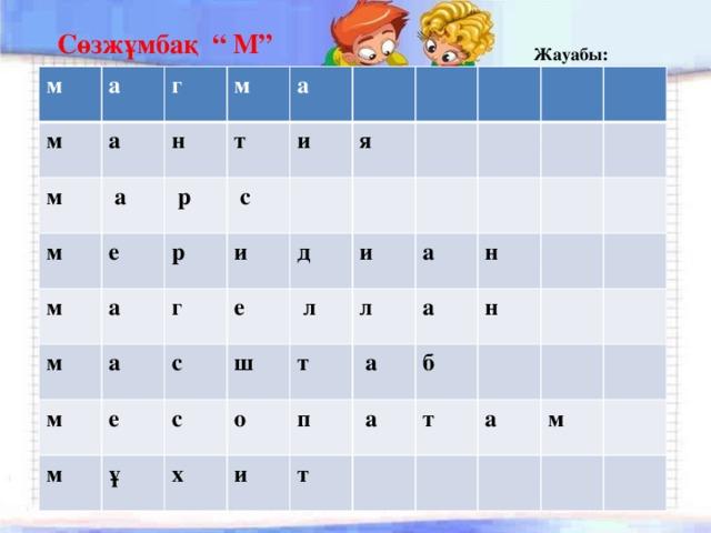 """Сөзжұмбақ """" М"""" Жауабы: м а м а г м  а м н м а  р м т е р и м  с а а г и м   я м д е е  с ш ұ  л  с и о т л х а и п н  а а   б н  а  т т  а м"""