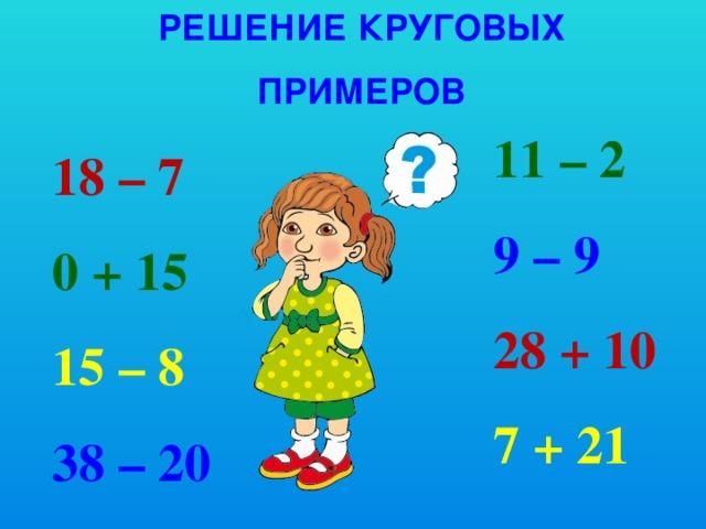 Решение круговых примеров 11 – 2 9 – 9 28 + 10 7 + 21 18 – 7 0 + 15 15 – 8 38 – 20
