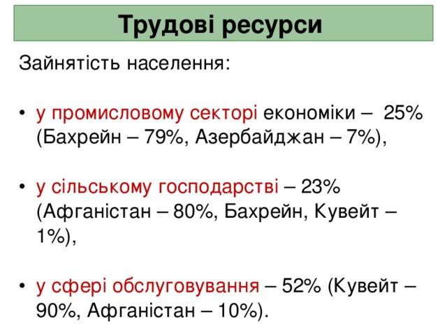 Трудові ресурси  Зайнятість населення: