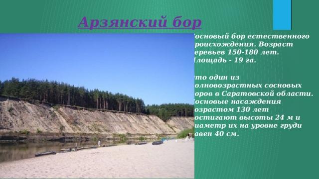 Арзянский бор Сосновый бор естественного происхождения. Возраст деревьев 150-180 лет. Площадь - 19 га.