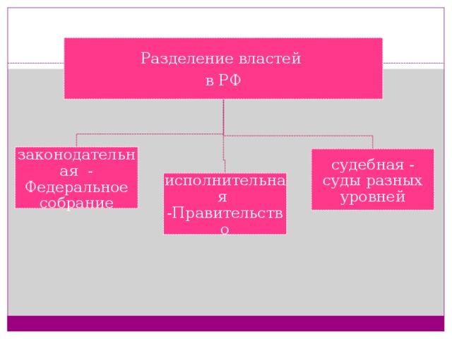 Разделение властей в РФ законодательная - Федеральное собрание судебная - суды разных уровней исполнительная -Правительство