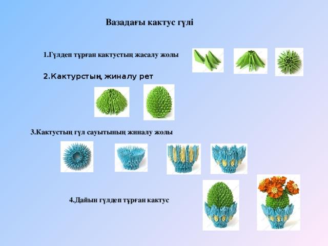 Вазадағы кактус гүлі    1.Гүлдеп тұрған кактустың жасалу жолы 2.Кактурстың жиналу рет  3.Кактустың гүл сауытының жиналу жолы  4.Дайын гүлдеп тұрған кактус