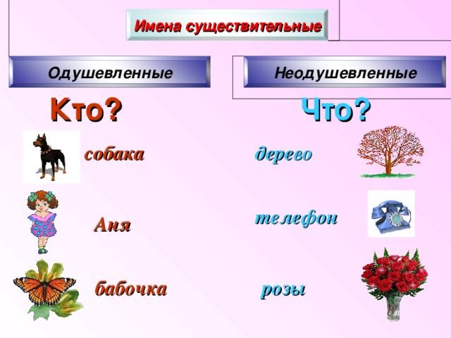 Имена существительные Одушевленные Неодушевленные Кто?  Что? собака дерево телефон  Аня бабочка розы