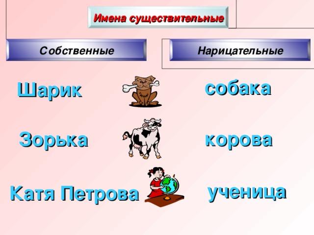 Шарик Зорька корова Катя Петрова Имена существительные Собственные Нарицательные собака ученица