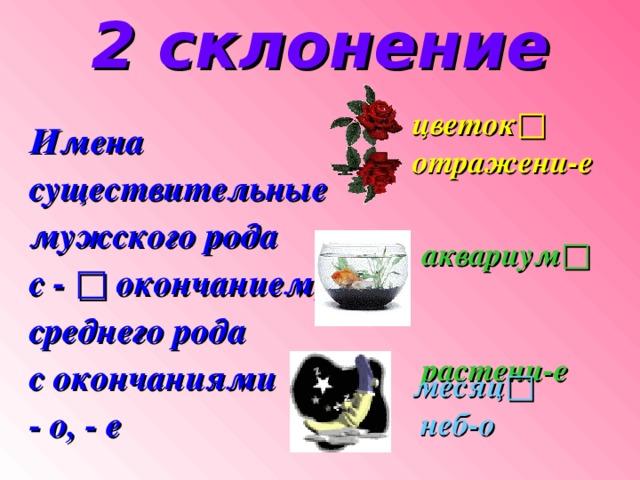 2 склонение цветок□ отражени - е Имена существительные мужского рода с - □ окончанием; среднего рода с окончаниями - о, - е   аквариум□ растени - е  месяц□  неб - о