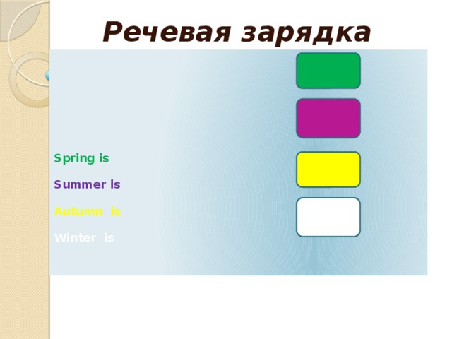 Рeчевая зарядка       Spring is    Summer is   Autumn is   Winter is