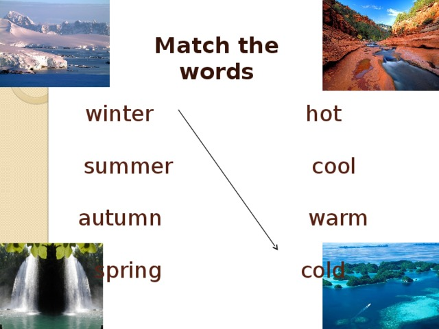 Match the words winter hot   summer cool   autumn warm   spring cold