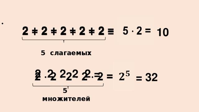 5 2 =  10  2 + 2 + 2 + 2 + 2 =    2 2 2 2 2 =  5 слагаемых  = 32 5 множителей