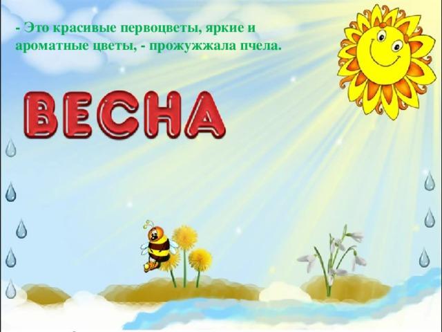 - Это красивые первоцветы, яркие и ароматные цветы, - прожужжала пчела.