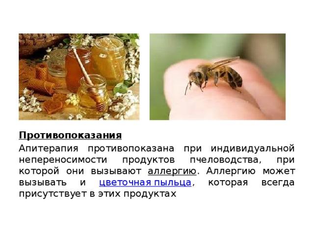 Противопоказания Апитерапия противопоказана при индивидуальной непереносимости продуктов пчеловодства, при которой они вызывают аллергию . Аллергию может вызывать и цветочная пыльца , которая всегда присутствует в этих продуктах