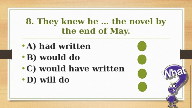8. They knew he … the novel by the end of May.