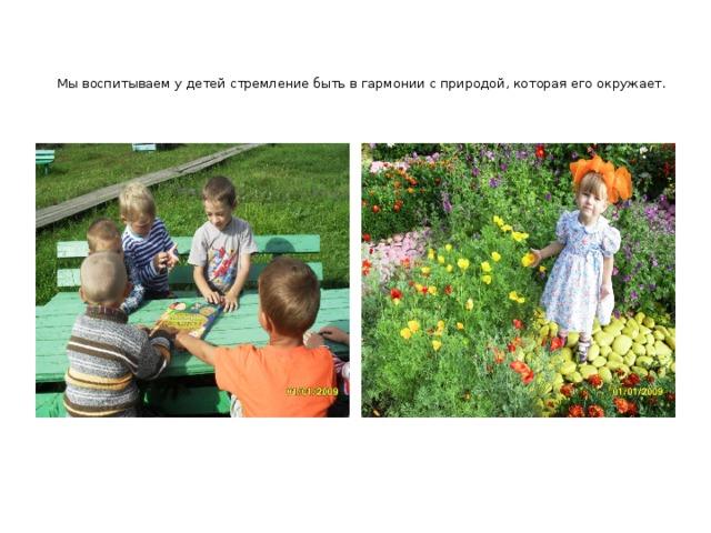 Мы воспитываем у детей стремление быть в гармонии с природой, которая его окружает.