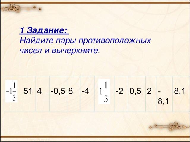 1 Задание: Найдите пары противоположных чисел и вычеркните .