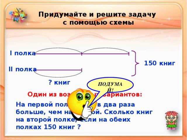 Придумайте и решите задачу  с помощью схемы I полка 150 книг II полка ? книг ПОДУМАЙ! Один из возможных вариантов: На первой полке книг в два раза больше, чем на второй. Сколько книг на второй полке, если на обеих полках 150 книг ?