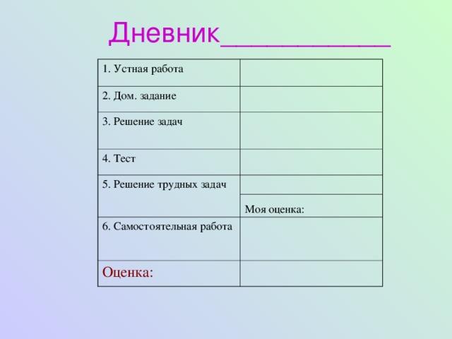 Дневник___________ 1. Устная работа 2. Дом. задание 3. Решение задач 4. Тест 5. Решение трудных задач 6. Самостоятельная работа Моя оценка: Оценка: