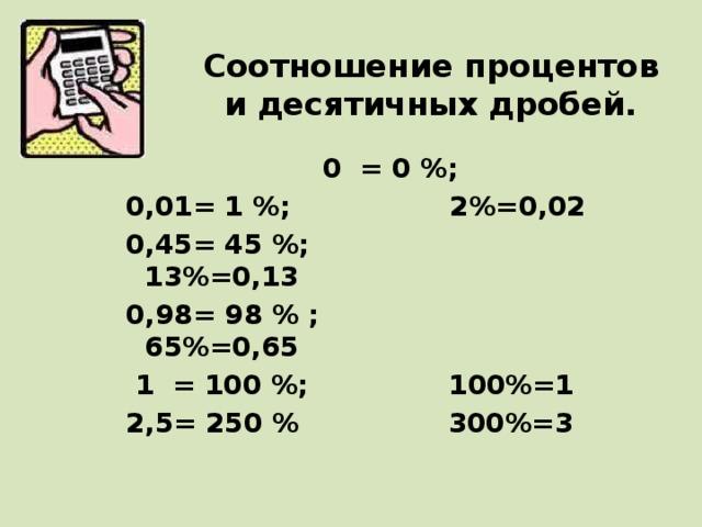 Соотношение процентов и десятичных дробей.  0 = 0 %; 0,01= 1 %; 2%=0,02 0,45= 45 %; 13%=0,13 0,98= 98% ; 65%=0,65  1 = 100 %; 100%=1 2,5= 250 % 300%=3