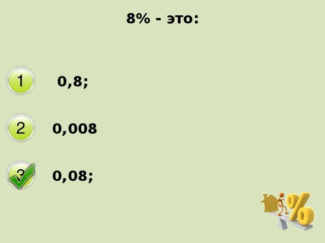 8% - это:  0,8; 0,008 0,08;