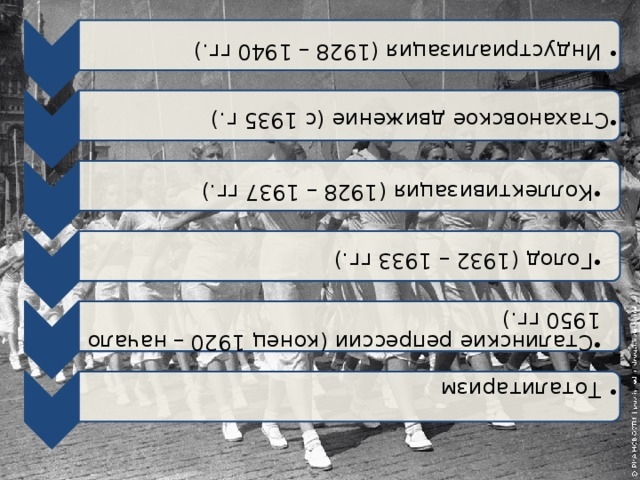 Индустриализация (1928 – 1940 гг.) Индустриализация (1928 – 1940 гг.) Стахановское движение (с 1935 г.) Стахановское движение (с 1935 г.) Коллективизация (1928 – 1937 гг.) Коллективизация (1928 – 1937 гг.) Голод (1932 – 1933 гг.) Голод (1932 – 1933 гг.) Сталинские репрессии (конец 1920 – начало 1950 гг.) Сталинские репрессии (конец 1920 – начало 1950 гг.) Тоталитаризм Тоталитаризм