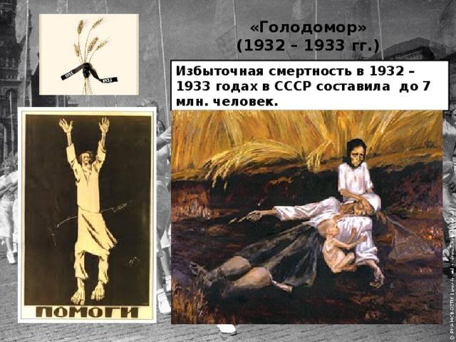 «Голодомор»  (1932 – 1933 гг.) Избыточная смертность в 1932 – 1933 годах в СССР составила до 7 млн. человек.