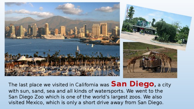 The last place we visited in California was San Diego , a city with sun, sand, sea and all kinds of watersports. We went to the San Diego Zoo which is one of the world's largest zoos. We also visited Mexico, which is only a short drive away from San Diego.