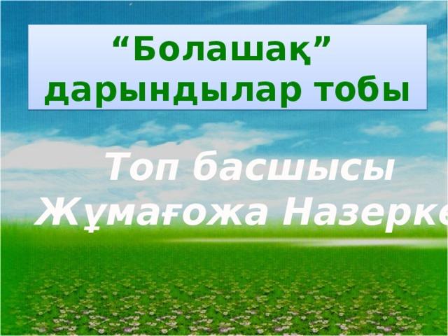 """"""" Болашақ"""" дарындылар тобы Топ басшысы Жұмағожа Назерке"""